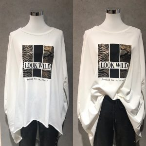 "Long Shirt ""Look like wild"" weiß - Lieblingsstücke Wegberg"