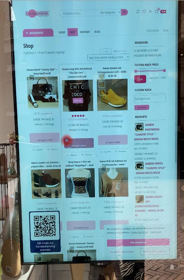 Mausanzeige auf interaktives Schaufenster